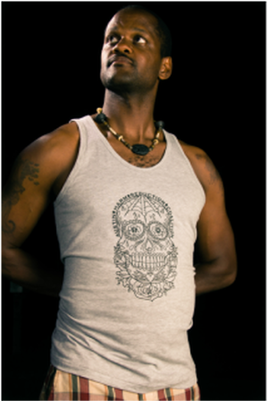 Grey Unisex Tank With Black Sugar Skull Austin Harm Reduction